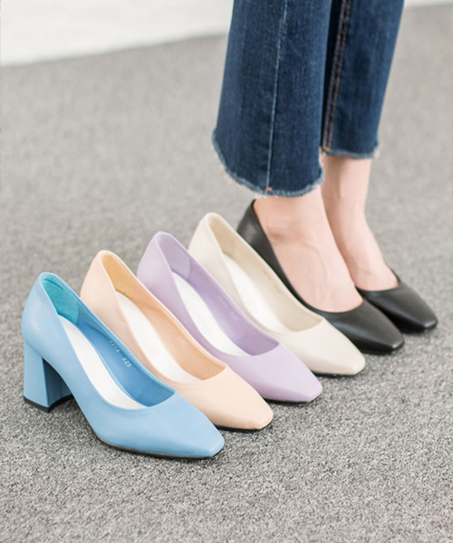 그레빈 파스텔 미들굽 펌프스힐(black/ivory/light pink/light purple/sky blue/7cm)