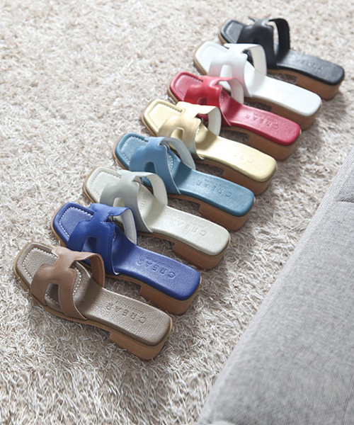 폴리드 소가죽 H 뮬 슬리퍼(black/beige/red/gold/gray/blue/sky/white/4cm)