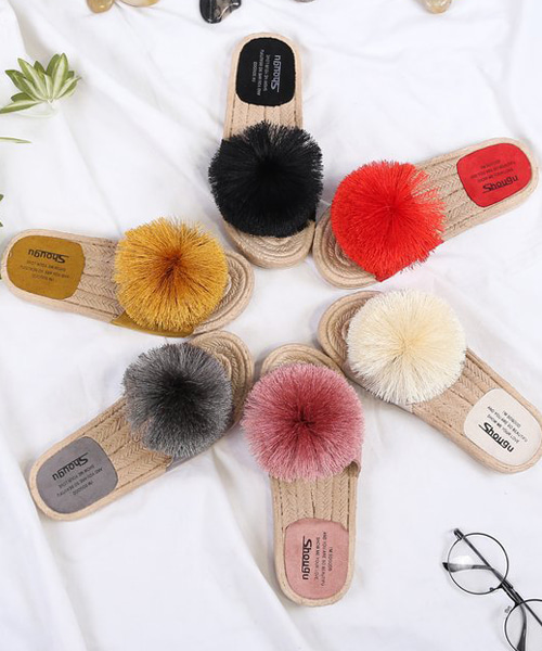 [무료배송]스카르 폼폼 찰랑방울  슬리퍼(black/red/white/pink/yellow/green/gray/beige/navy/2cm)