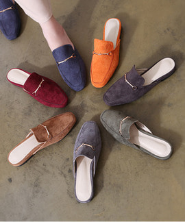 디스센 스웨이드 뮬 블로퍼(charcoal/brown/khaki/orage/gray/wine/blue/2.7cm)