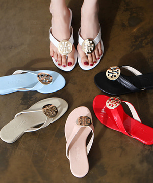 엔터비 에나멜 웨지 쪼리(black/white/beige/pink/blue/red/3cm)