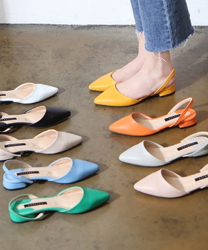 훼리픈 스틸레토 슬링백 플랫슈즈(black/white/yellow/green/gray/blue/orange/pink/beige/2cm)